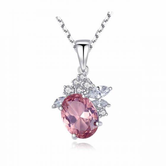 Elegant Pink CZ Flower 925 Sterling Silver Necklace