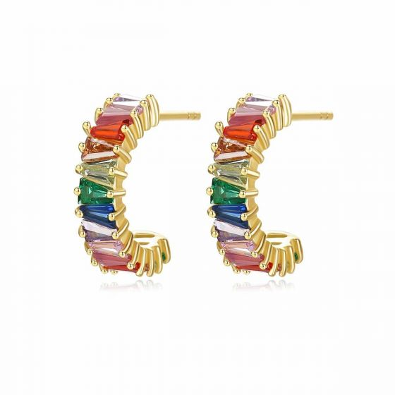 Colorful CZ C Shape 925 Sterling Silver Stud Earrings