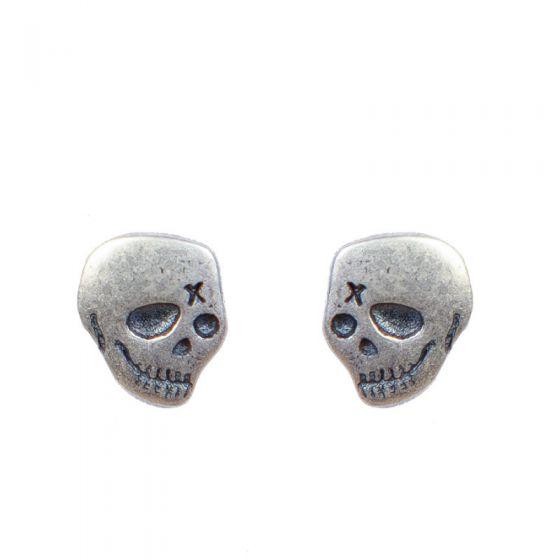 Fashion Skull 925 Sterling Silver Studs Earrings (Single Piece)
