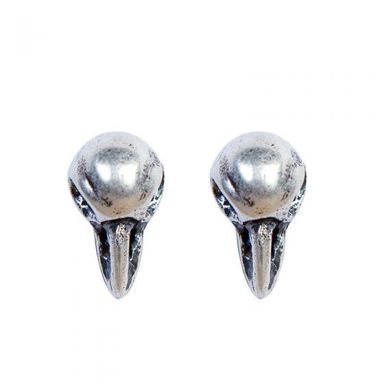 Crow's Skull Bird Head 925 Sterling Silver Earrings