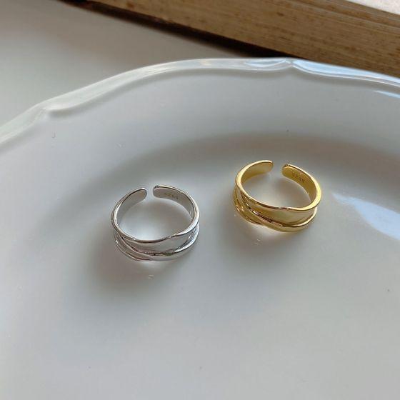 Irregular Geometric Cross 925 Sterling Silver Adjustable Ring