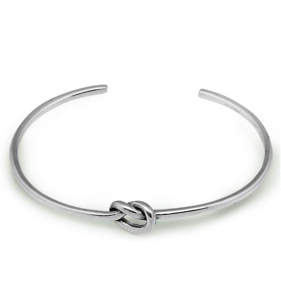 Love Single Knot Open Size 925 Sterling Silver Cuff Bracelet Bangle
