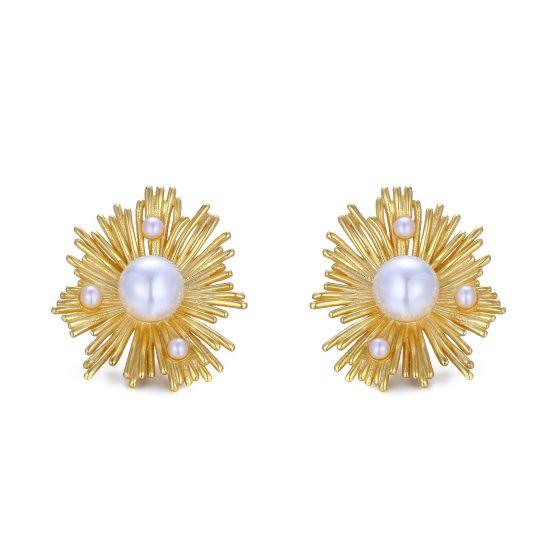 Elegant Shell Pearl Sun 925 Sterling Silver Stud Earrings