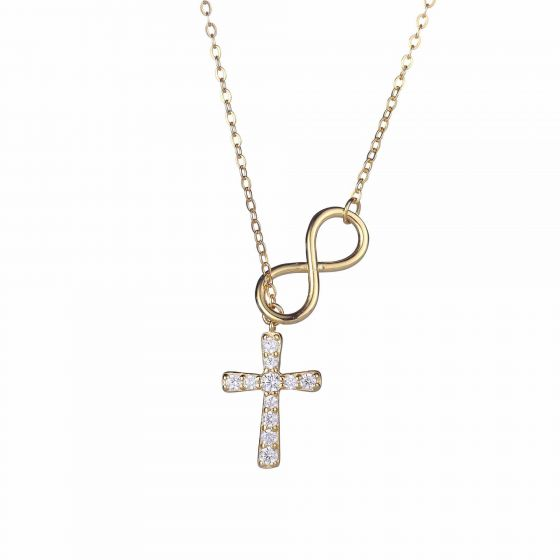 Classic CZ Cross Infinite 925 Sterling Silver Necklace
