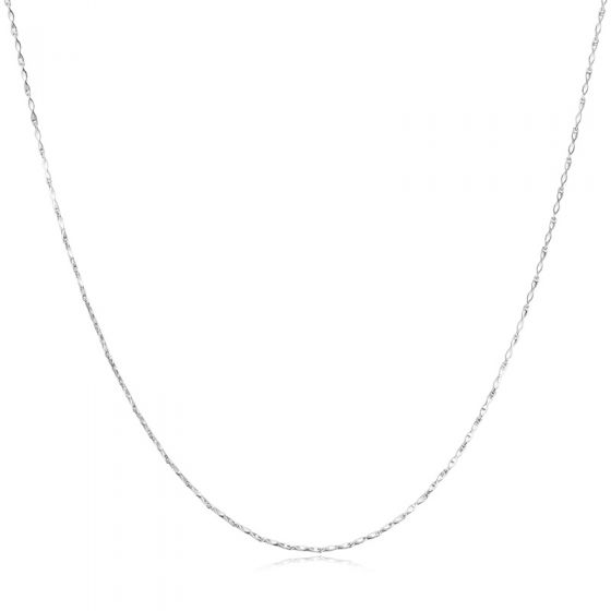 """Twisted Double V Sterling Silver 16""""/18"""" Nugget Crisscross Chain"""