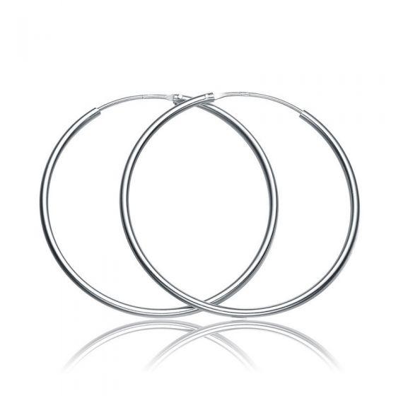 Simple Concise Elegant Women 925 Sterling Sliver Hoop Earrings