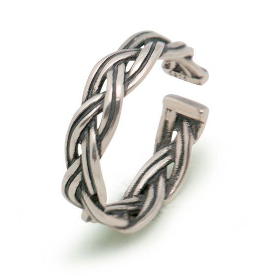 ファッションヴィンテージツイストロープソリッド925スターリングシルバー女性のための調節可能なリング