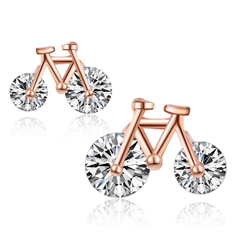 Gift for Her Gorgeous Rose Plated 925 Sterling Silver Earring--Free Shipping