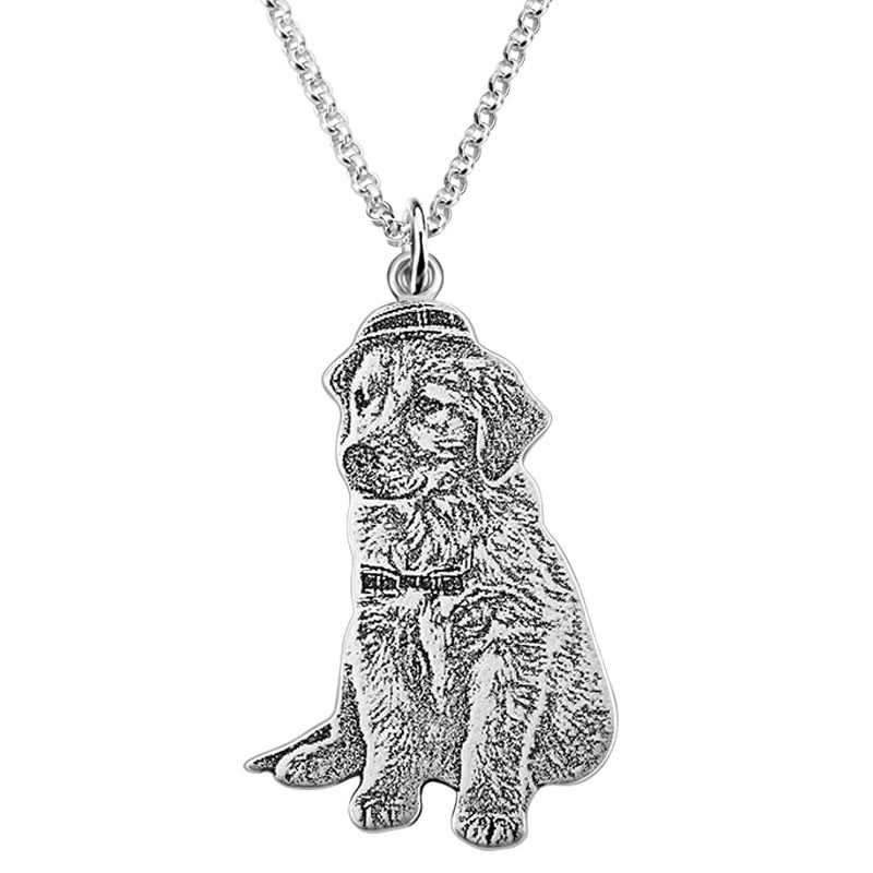 20mm Silver Yellow Plated Dog Pendant