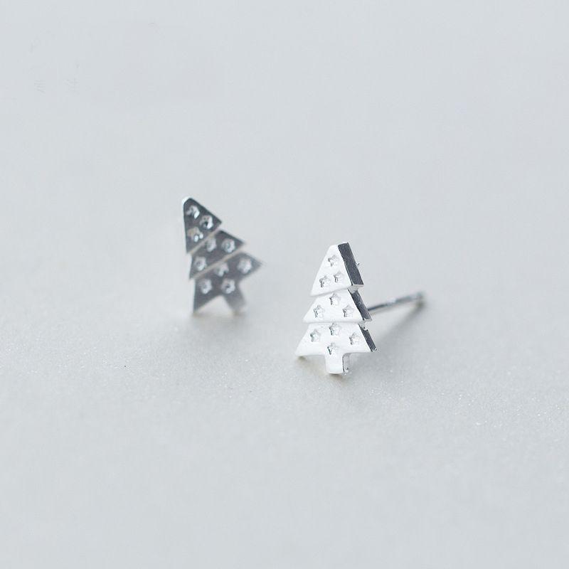 Tiny Solid 925 Silver Sleeper Crystal Star Stud Earrings Xmas
