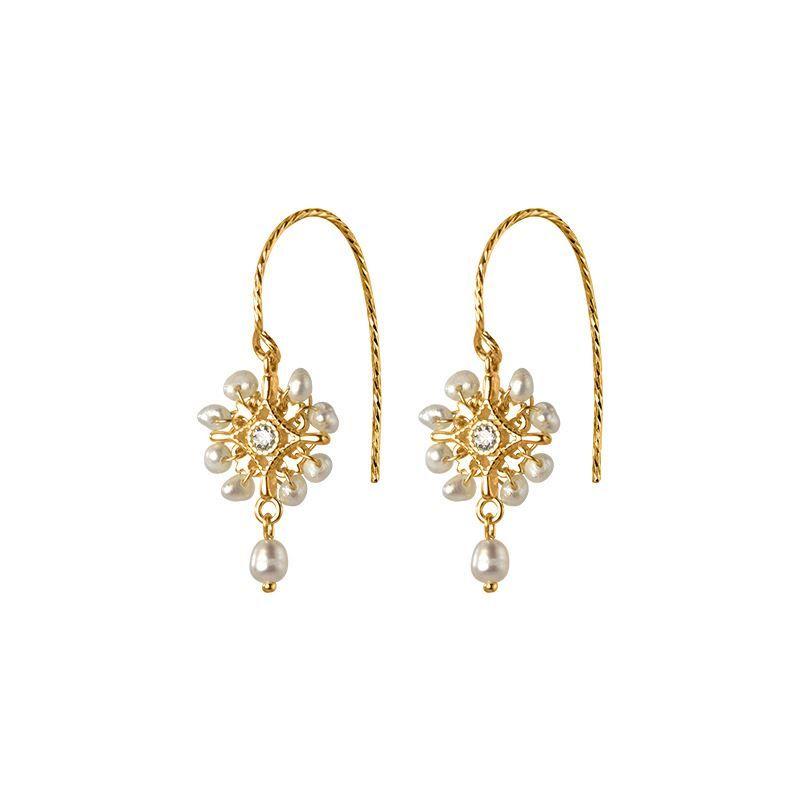 Unique Jewelry Gift White /& Black Irregular Natural Stones Cross Dangle Earrings Handmade Jewelry Stone Earrings Natural Stones Jewelry