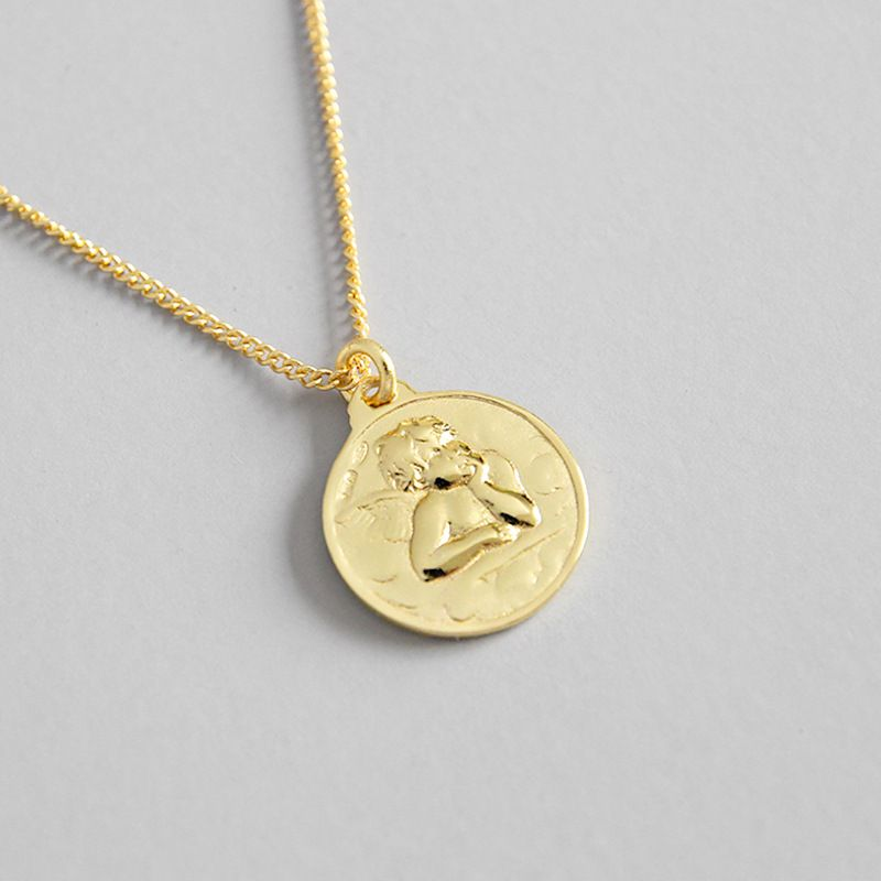 Sterling Silver Yellow Cupid Coin 16+2 Necklace Pendants Women knp ...
