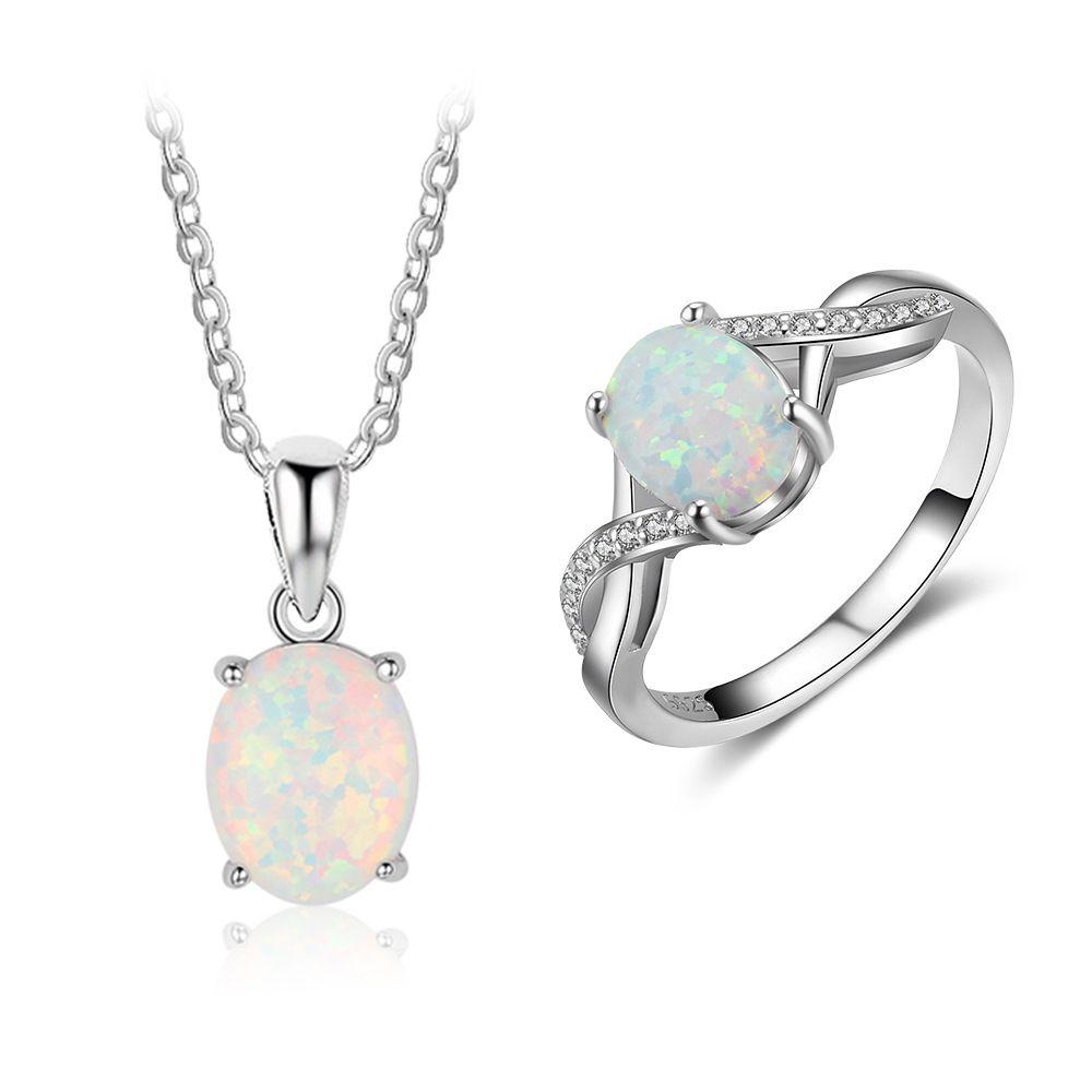 """18/"""" 925 Argent rose opale Et Diamant Accent trois pierres pendentif"""