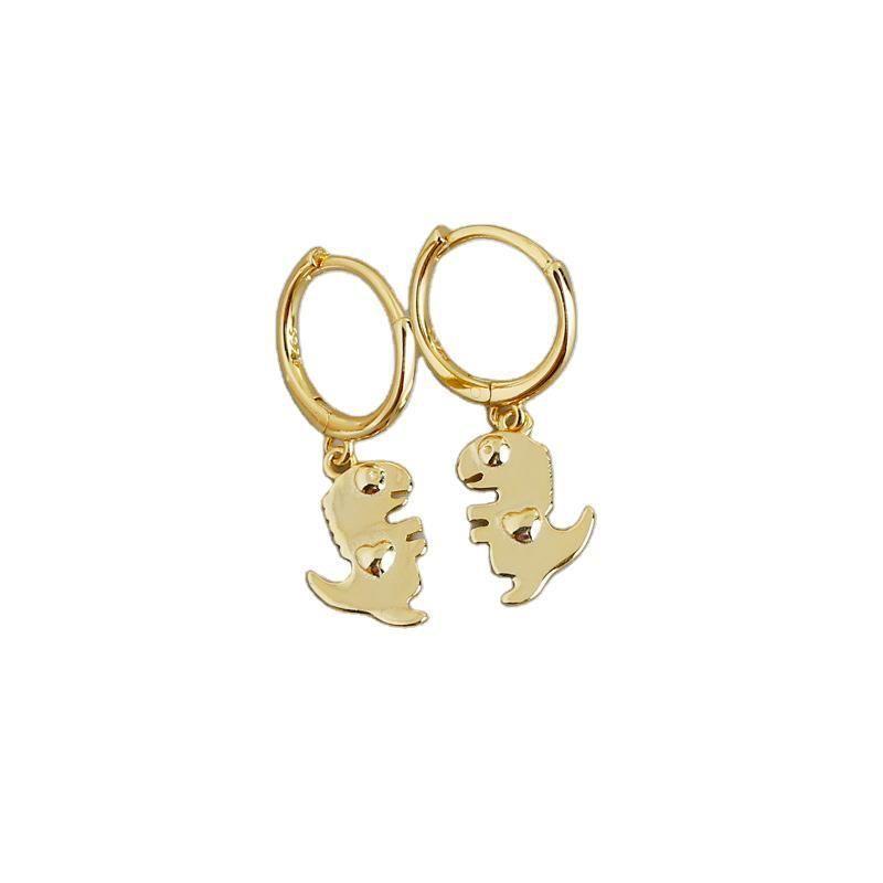 Cute Animal Dinosaur 925 Sterling Silver Hoop Earrings
