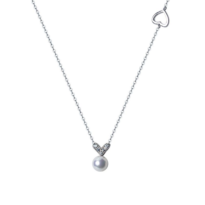 Heart Shape Solid Freshwater Pearl Pendant with Sterling Silver Chain