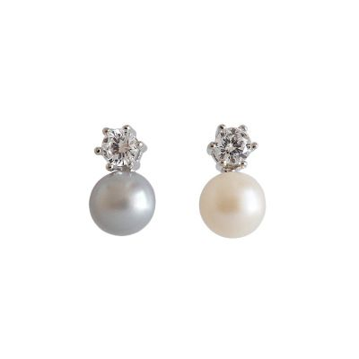 Women Elegant Natural Pearl 925 Sterling Silver Earring