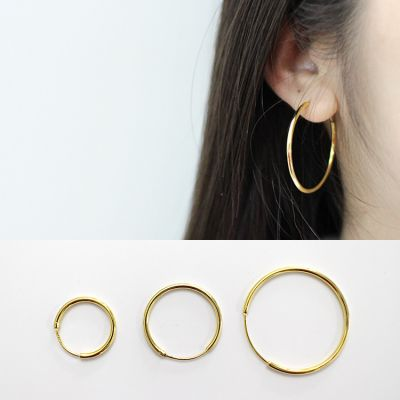 Fashion n Yellow Gold Solid 925 Sterling Silver Hoop Earrings