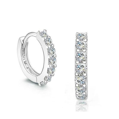 Circle Round Trendy Simple White CZ 925 Sterling Silver Hoop Earrings Women