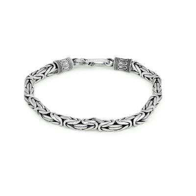Vintage Personality Carved Thai Silver 925 Sterling Silver Blessing Bracelet Men