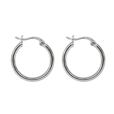 Fashion Simple Round 925 Sterling Silver Hoop Earrings