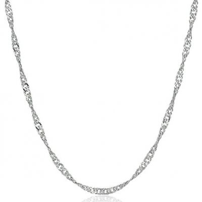 Water Wave Singapore Twisted Links Sterling Silver Chain 925 Silver 16