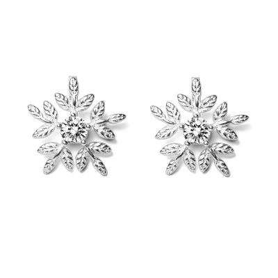Fashion 925 Sterling Silver White CZ Five Snowflake Christmas Studs Earrings