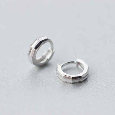 Simple Geometry 925 Sterling Silver Hoop Earring Buckles
