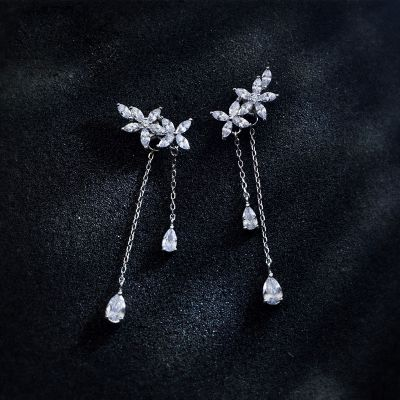 Beautiful CZ Flowers Tassel 925 Sterling Silver Dangling Earrings