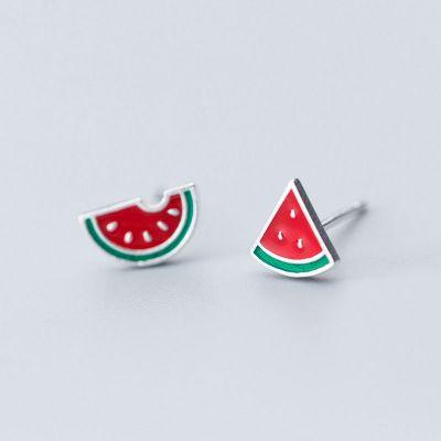 Cute Asymmetric Red Watermelon Fruit 925 Sterling Silver Studs Earrings