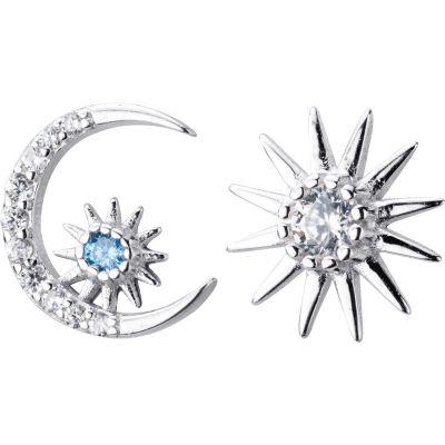Asymmetric CZ Crescent Moon Sun Star 925 Sterling Silver Stud Earrings
