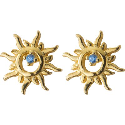 Graduation CZ Shining Sun 925 Sterling Studs Earrings