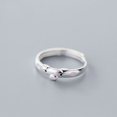 Cute Animal Pig 925 Sterling Silver Adjustable Ring