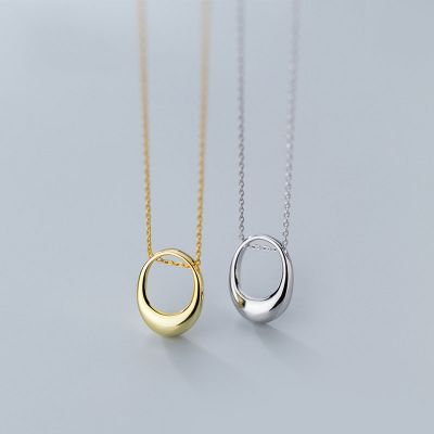 Simple Geometry Hollow Ellipse 925 Sterling Silver Necklace