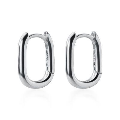 Simple Geometric Ellipse 925 Sterling Silver Hoop Earrings