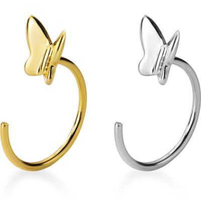 Modern Butterfly 925 Sterling Silver Hoop Earrings