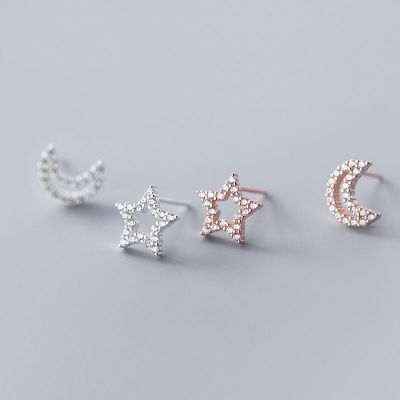 Asymmetric Hollow CZ Star Crescent Moon 925 Sterling Silver Studs Earrings