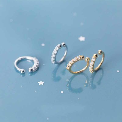 Simple CZ Circle 925 Sterling Silver Non-Pierced Earrings