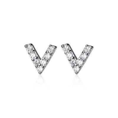 Fashion Letter V 925 Sterling Silver Stud CZ Earrings