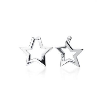 Mini Hollow Star 925 Sterling Silver Leverback Earrings