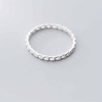 Simple Hollow Twisted 925 Sterling Silver Ring
