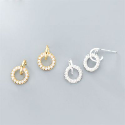Simple Shell Pearls Circles 925 Sterling Silver Leverback Earrings