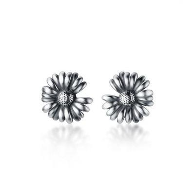 Vintage Daisy Flower 925 Sterling Silver Stud Earrings