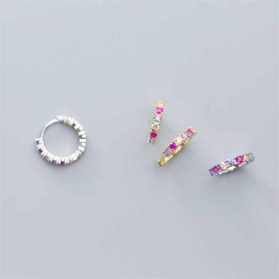 Colorful CZ C Shape 925 Sterling Silver Hoop Earrings