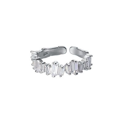 Modern Rectangle Shining CZ 925 Sterling Silver Adjustable Ring