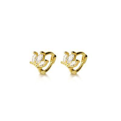 Elegant CZ Crown 925 Sterling Silver Hoop Earrings