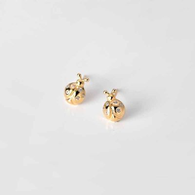 Animal Golden CZ Ladybird 925 Sterling Silver Stud Earrings