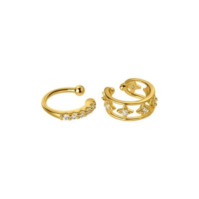 Asymmetry Golden 925 Sterling Silver Non-Pierced Earrings