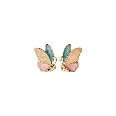 Colorful Butterfly Girl 925 Sterling Silver Stud Earrings