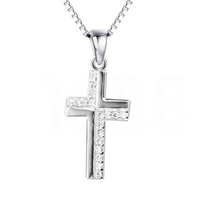 Half CZ Pave Christian Cross Solid 925 Sterling Sliver Pendant