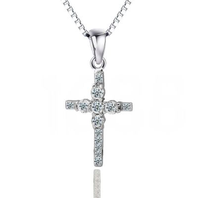 Christian Cross CZ Solid 925 Sterling Sliver Pendant